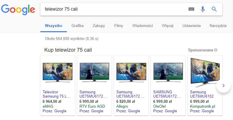 Reklamy produktowe w wyszukiwarce Google