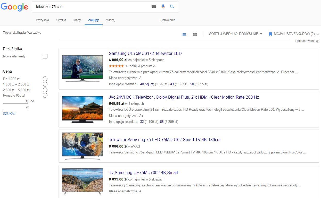 Reklamy produktowe w wyszukiwarce Google - zakładka Zakupy