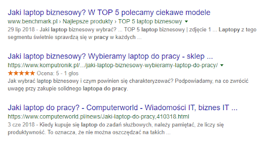 """Przykład wyszukiwania na frazę """"laptop do pracy"""""""