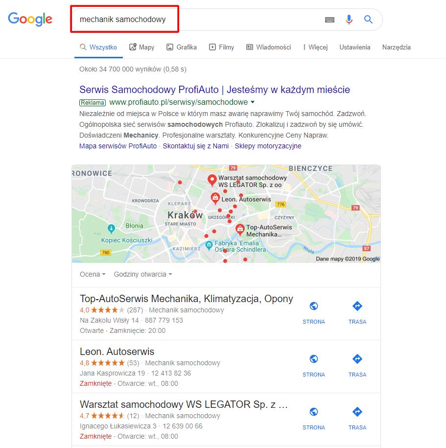 """Wyniki wyszukiwania dla przeglądarki na urządzeniu znajdującym się w Krakowie, dla frazy ogólnej """"mechanik samochodowy""""."""
